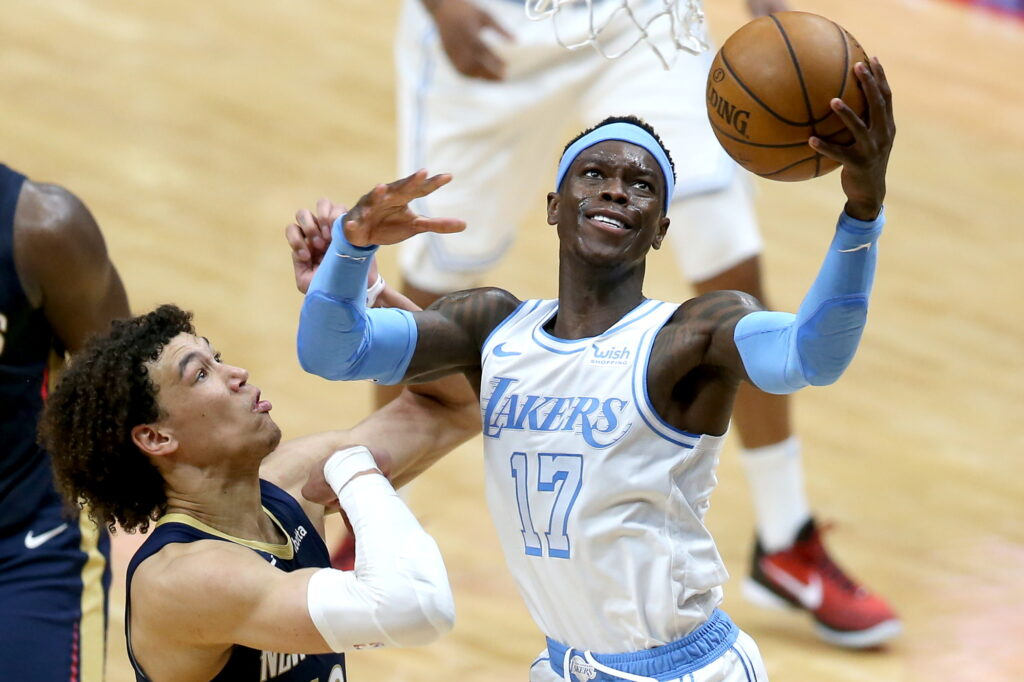 Dennis Schroder and Jaxson Hayes, Los Angeles Lakers vs New Orleans Pelicans