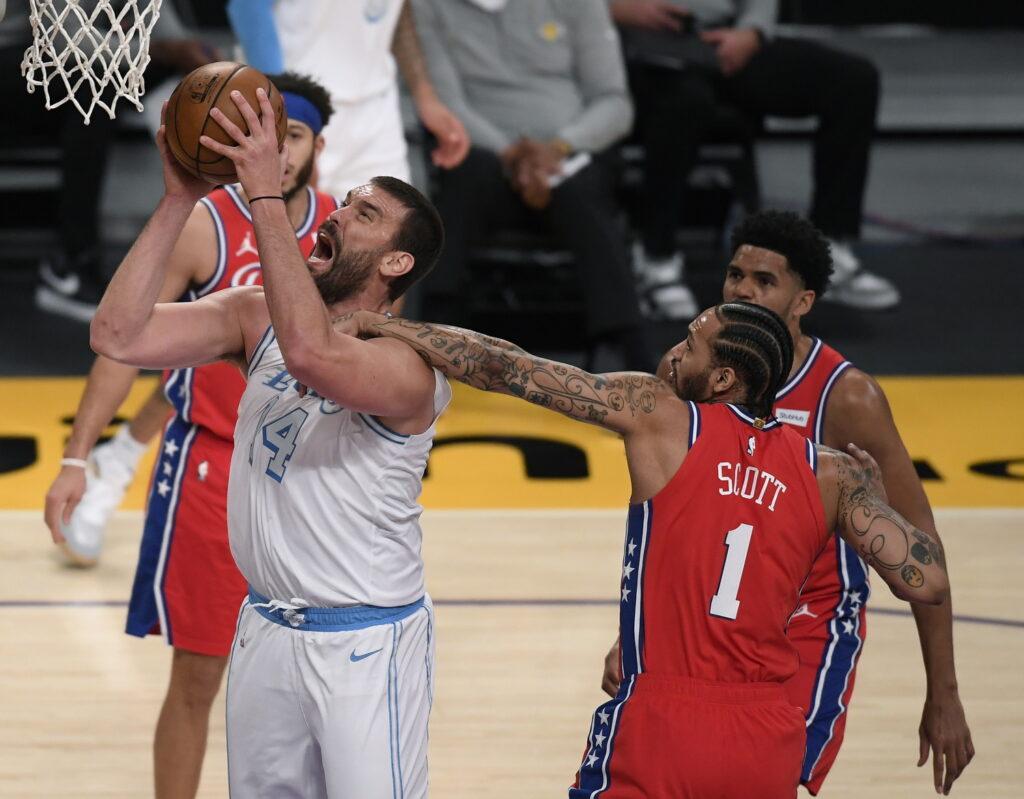 Marc Gasol and Mike Scott, 2021 in Los Angeles, California. , Los Angeles Lakers vs Philadelphia 76ers