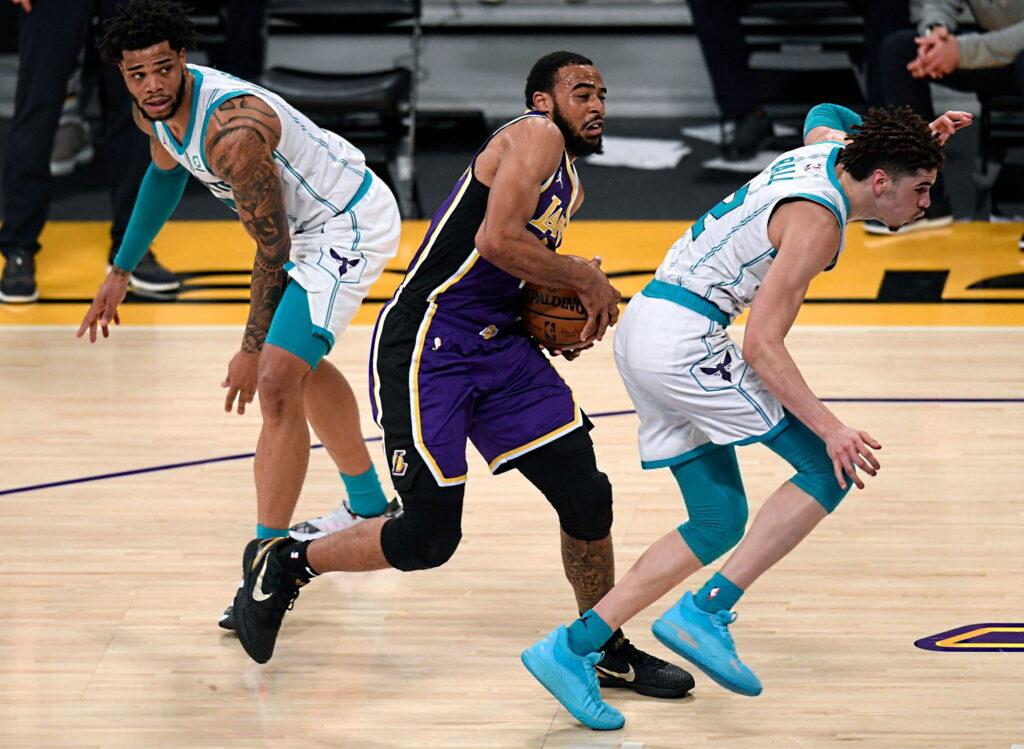 Talen Horton-Tucker, Miles Bridges and LaMelo Ball, Los Angeles Lakers vs Charlotte Hornets