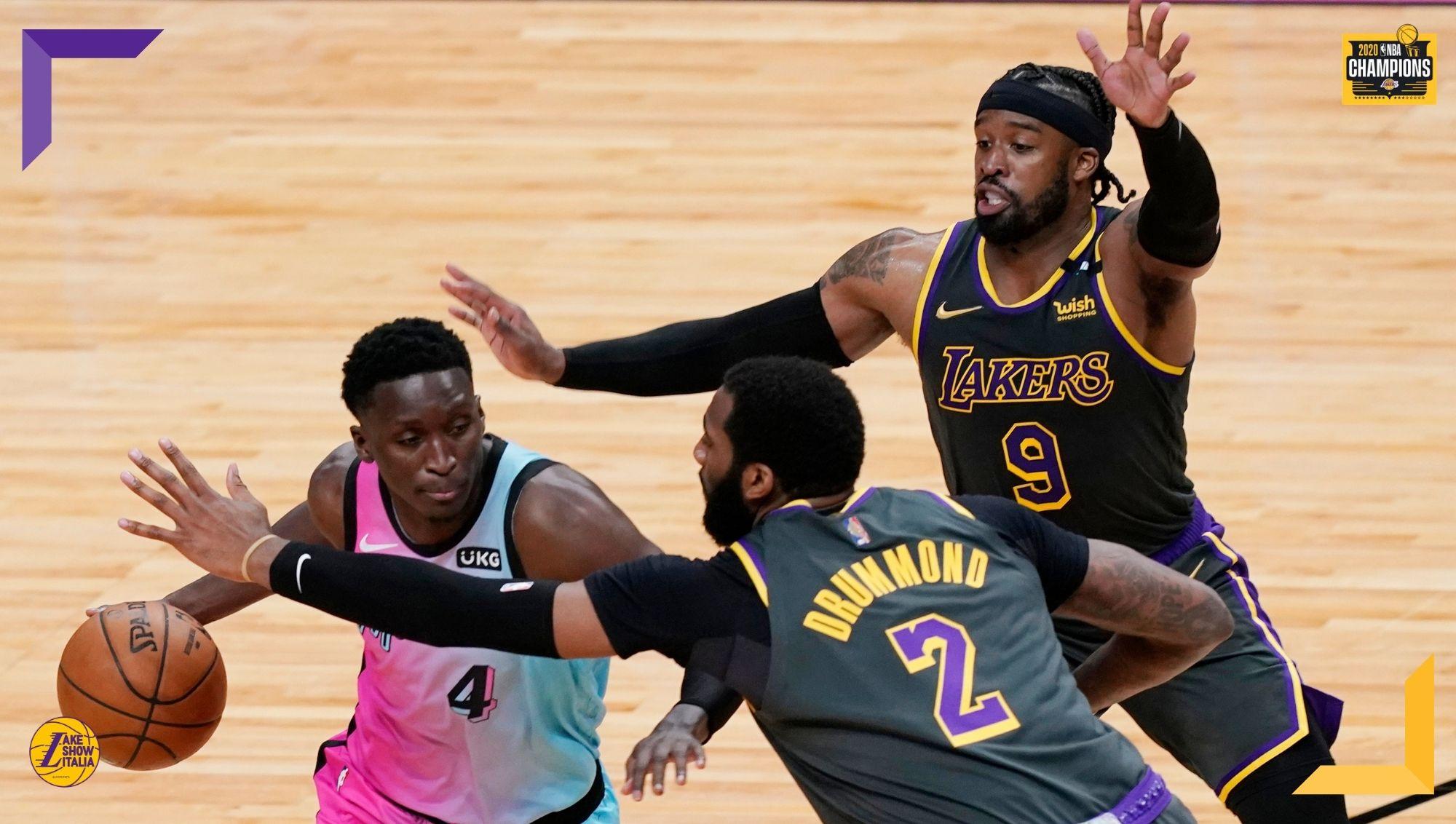Senza James, Davis e Kuzma i Los Angeles Lakers ci provano, ma nel finale si piegano ai Miami Heat. Ottima prova di Kentavious Caldwell-Pope.