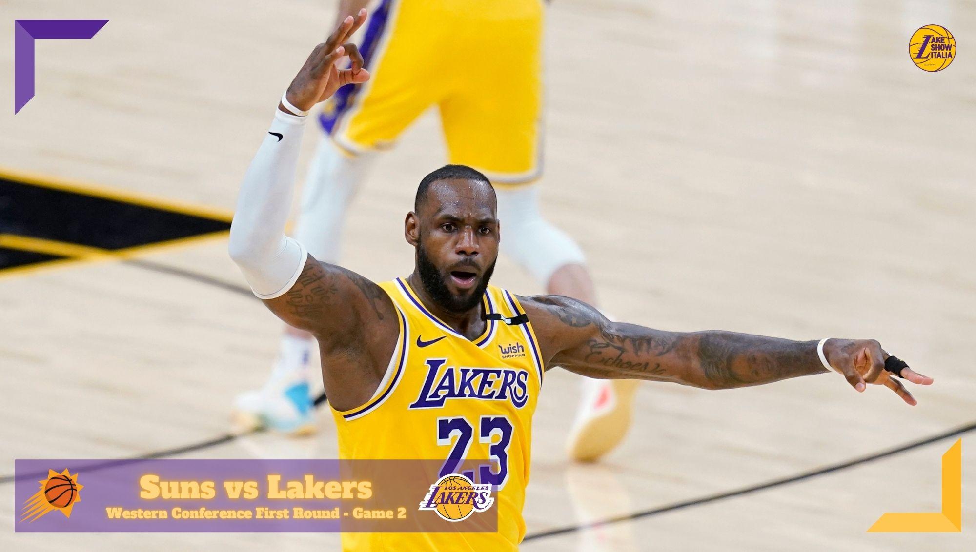 In Gara 2 arriva la reazione dei Los Angeles Lakers, che trascinati da Davis e James battono i Phoenix Suns e conquistano il fattore campo.