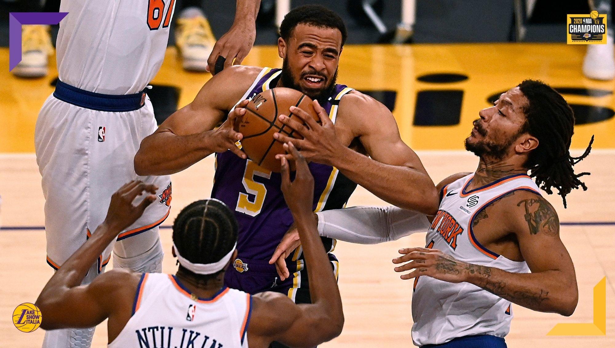I Los Angeles Lakers battono i New York Knicks dopo un overtime. Duello nel duello tra Talen Horton-Tucker e il suo idolo Derrick Rose.