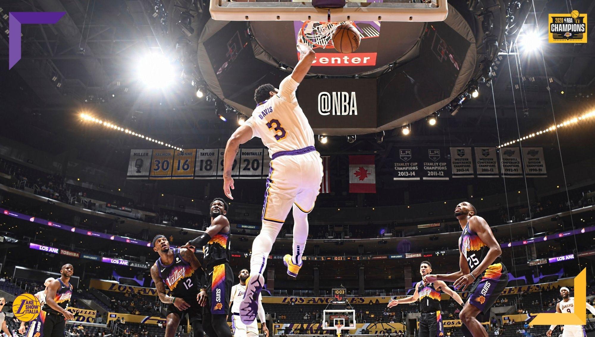 Bel successo dei Los Angeles Lakers, che superano i Phoenix Suns conducendo dall'inizio alla fine. Prestazione monstre per Anthony Davis.