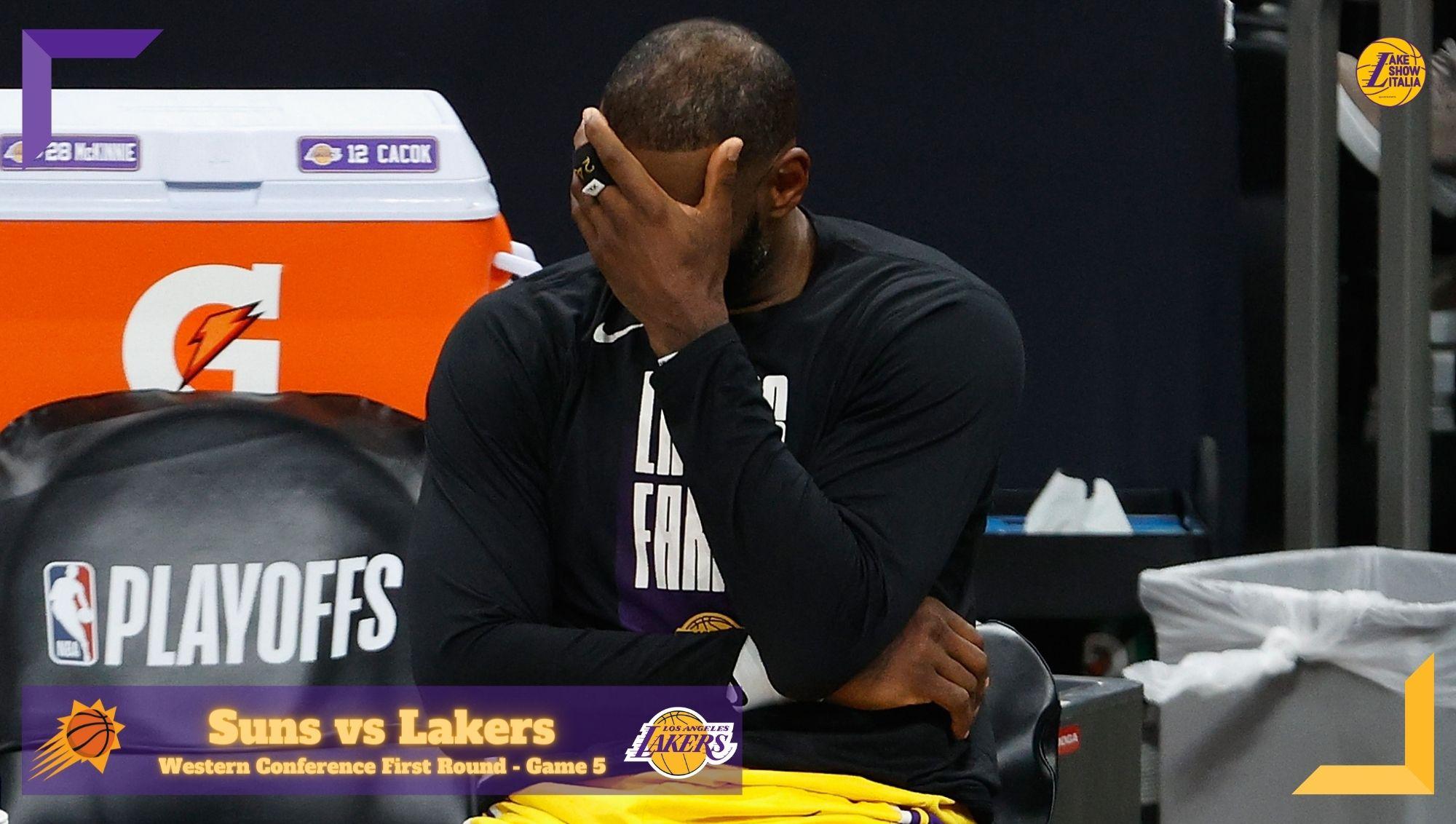 In Gara 5 basta un tempo ai Phoenix Suns per avere la meglio sui Los Angeles Lakers. Devin Booker inarrestabile, male LeBron James.